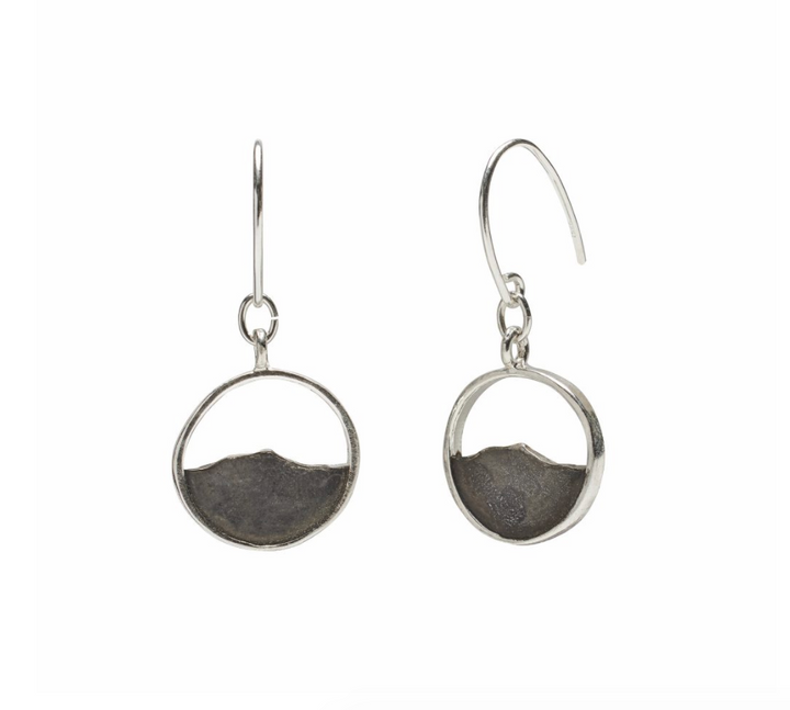 Camel's Hump Oxidized Silver Earrings