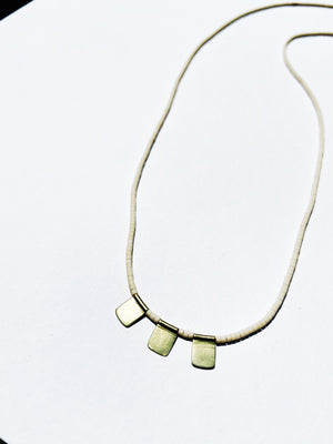 Cream Beaded Brass Flag Necklace