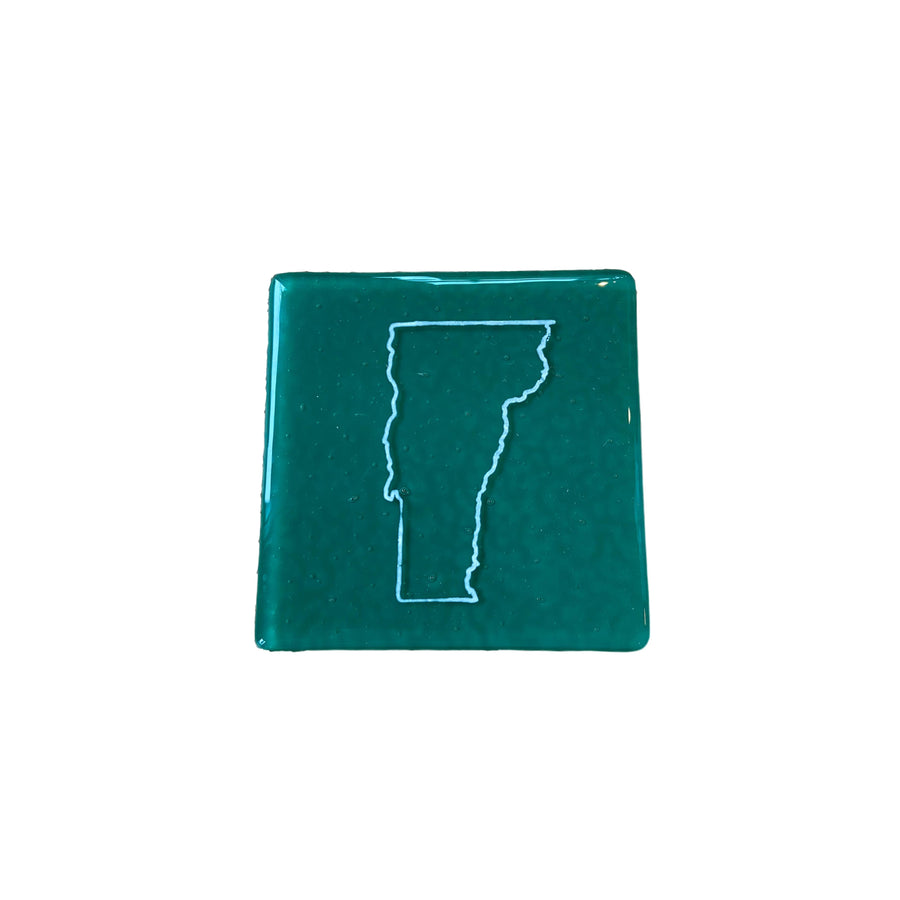 Vermont Fused Glass Coaster - White on Jade
