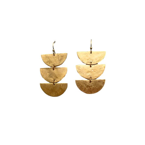 Brass Three Drops Earrings