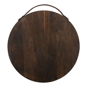 Rustic Round Walnut and Leather Serving Board