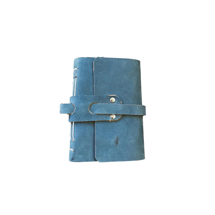 Small Refillable Leather Notebook - Blue
