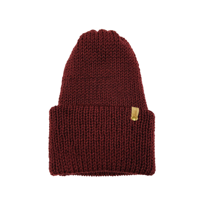 Hand Knit Log Cabin Beanie - Burgundy