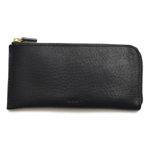 Long Leather Zip Wallet -Black
