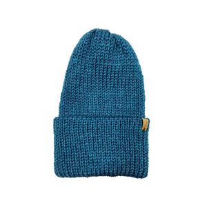 Hand Knit Log Cabin Beanie - Glacier Blue