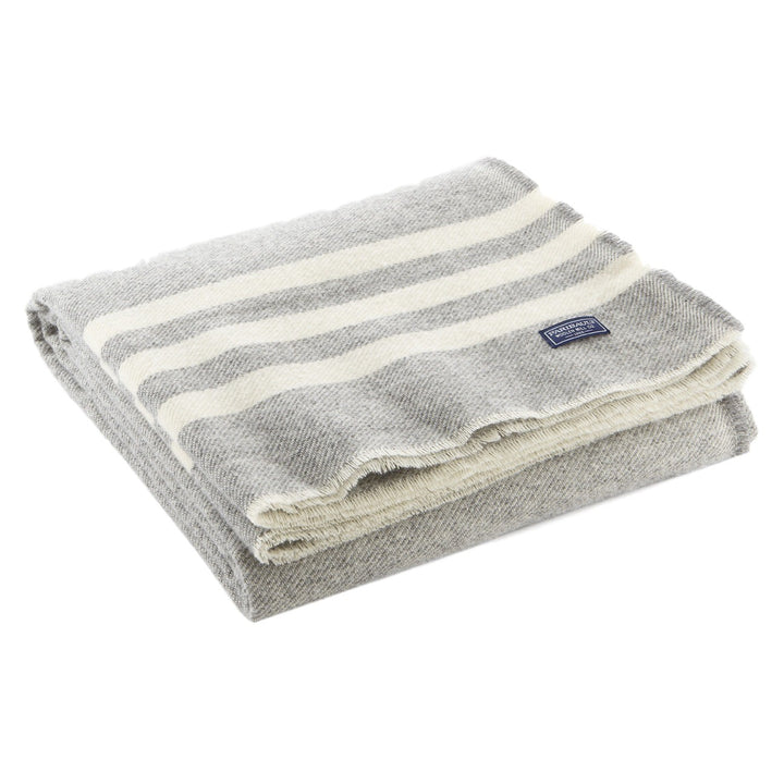 Faribault Trapper Striped Wool Throw - Gray Natural