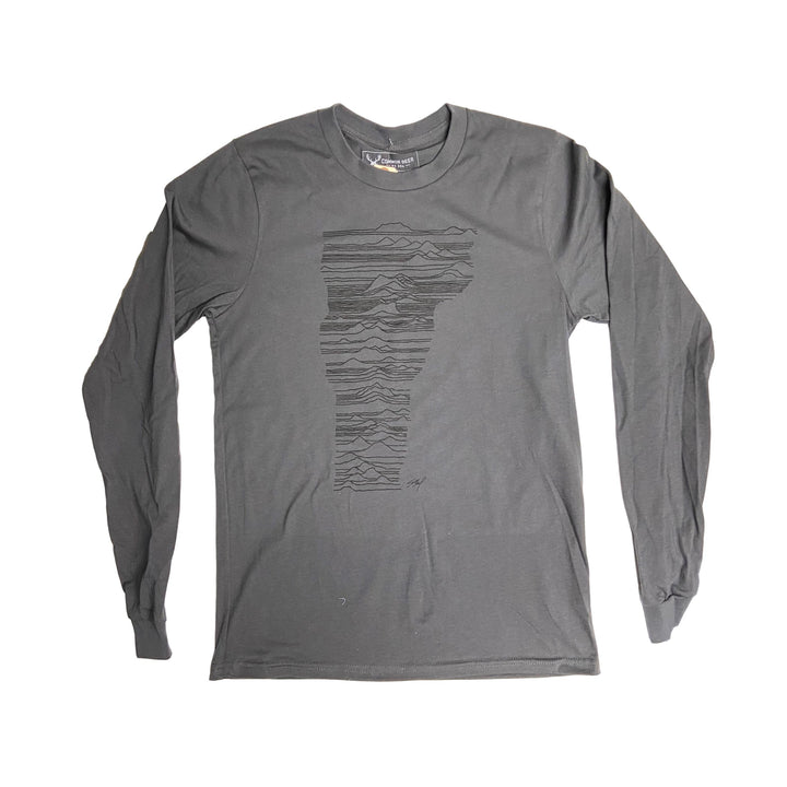 Mountains of Vermont Asphalt Grey Long Sleeve
