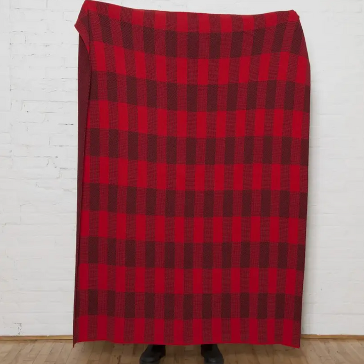 Sustainable Buffalo Plaid Reversible Throw Red