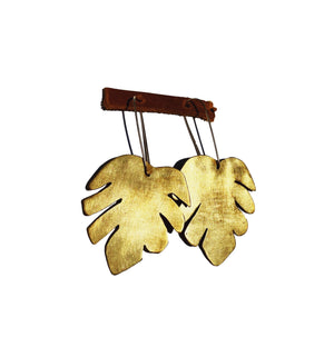 Brass Monstera Earring