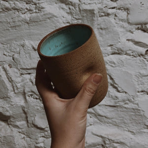 Hand-thrown Thumb Cupper - Tan Speckle / Ocean