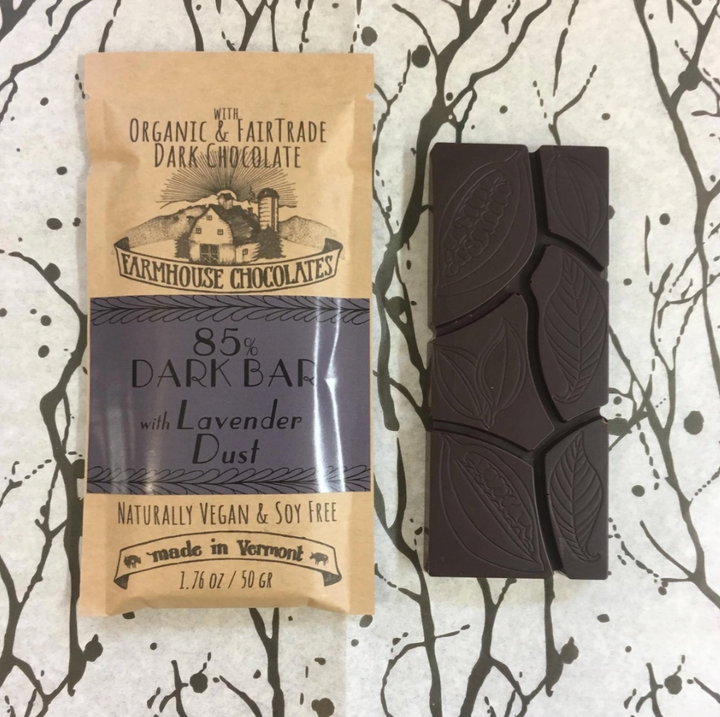 Vermont-Made Organic Fair Trade Chocolate Bar with Lavender Dust