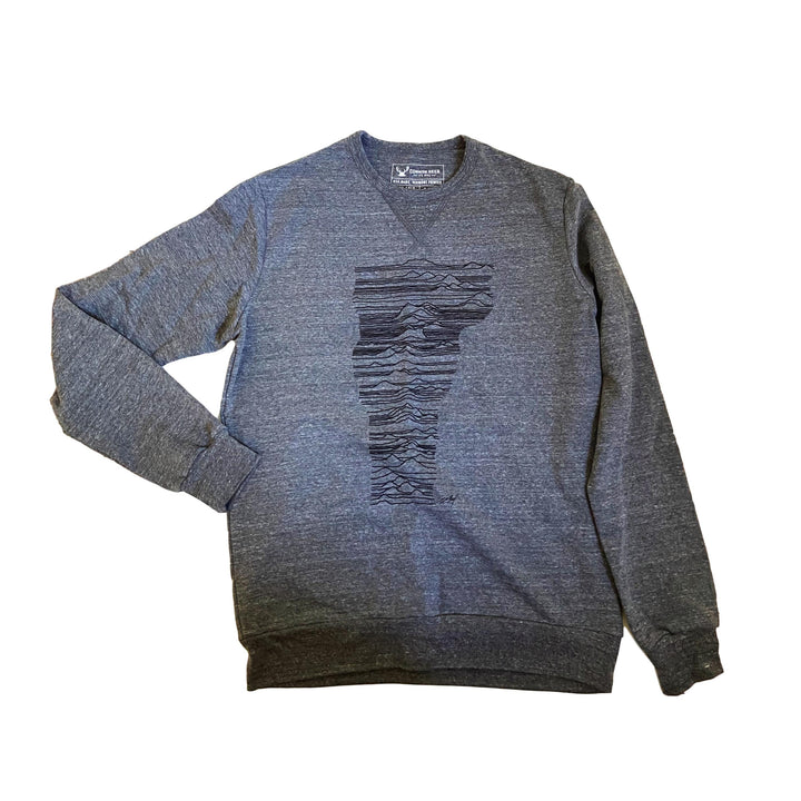 Mountains of Vermont Crew DARK GREY Lightweight Sweatshirt