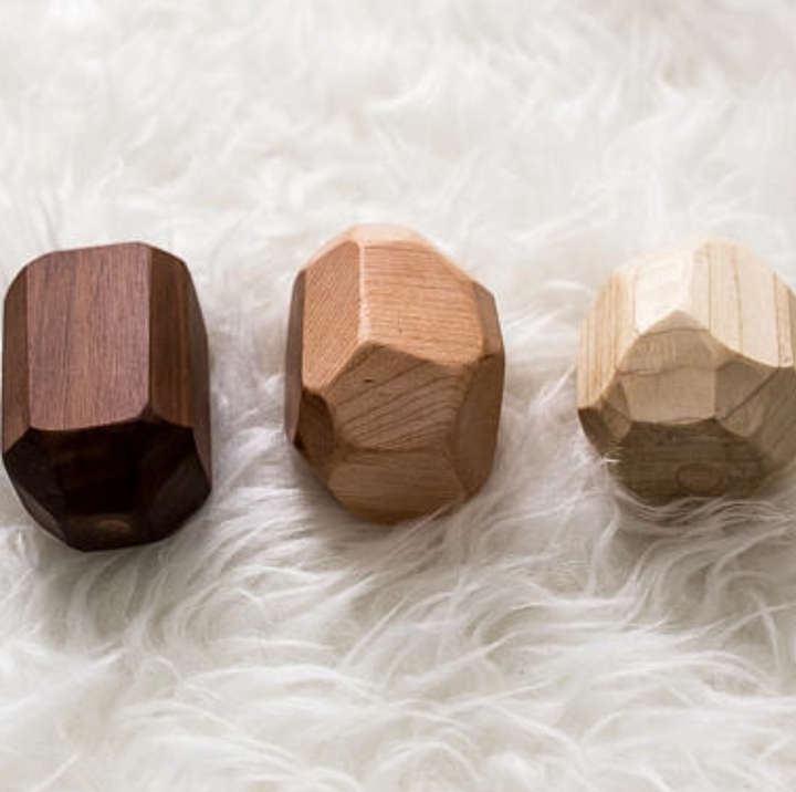 Three Piece Wooden Rattle Geode Set