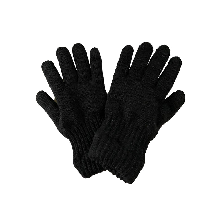 Ladies Black Wool Glove with Deerskin Palm - XS