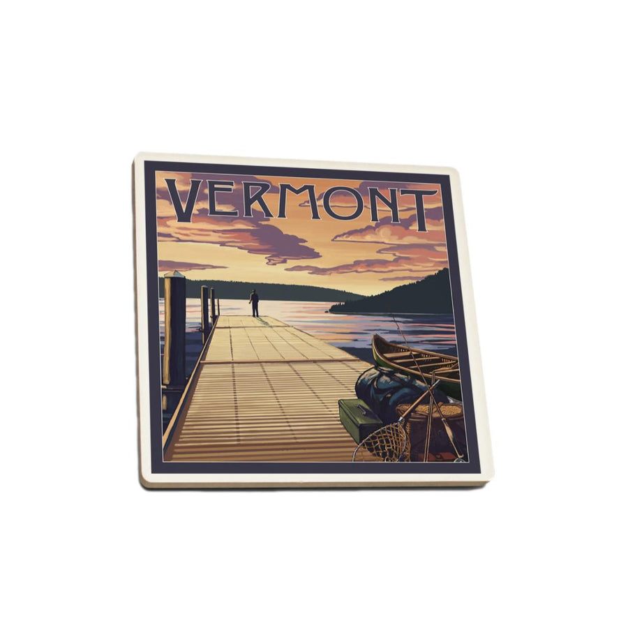 Single Ceramic Coaster - Vermont Dock Scene & Lake