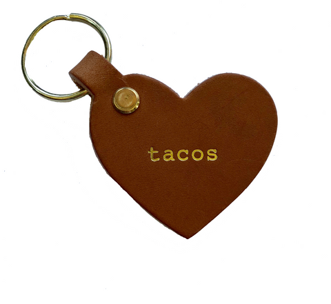 Leather Taco Heart Key Tag