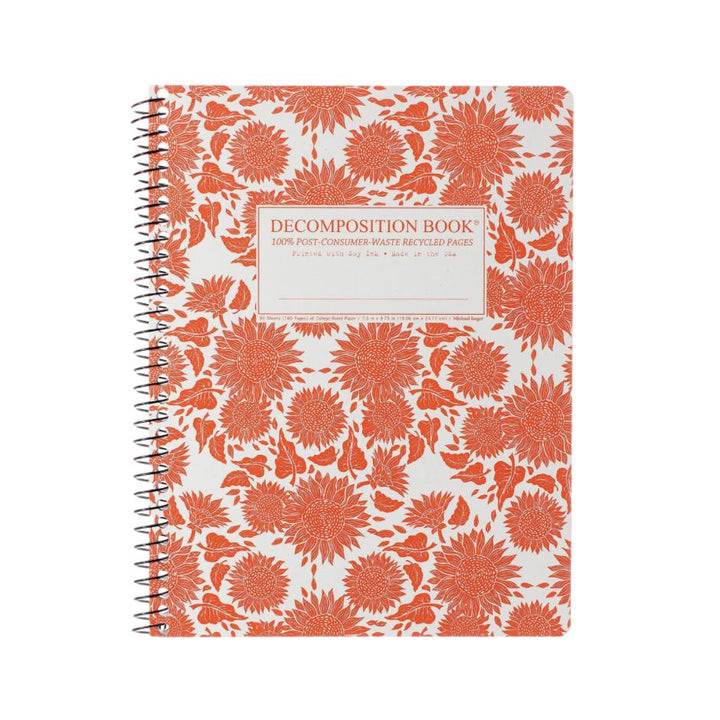 Coilbound Decomposition Lined Notebook - Sunflowers