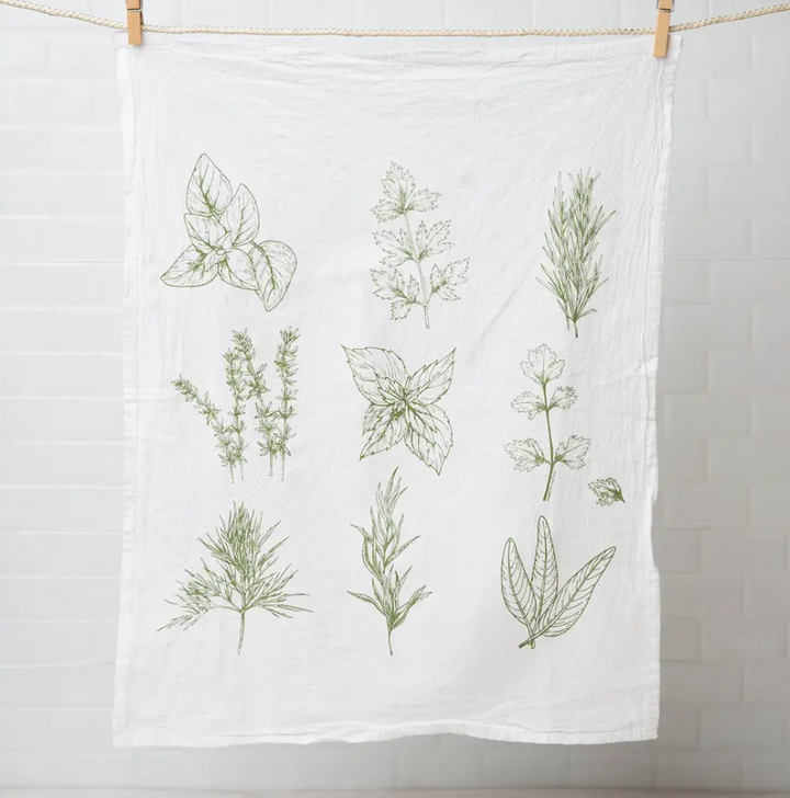 Flour Sack Tea Towel - Herbs