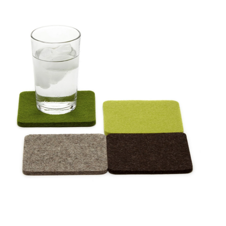 Bierfizl Square Felt Coaster 4 Pack - Forest