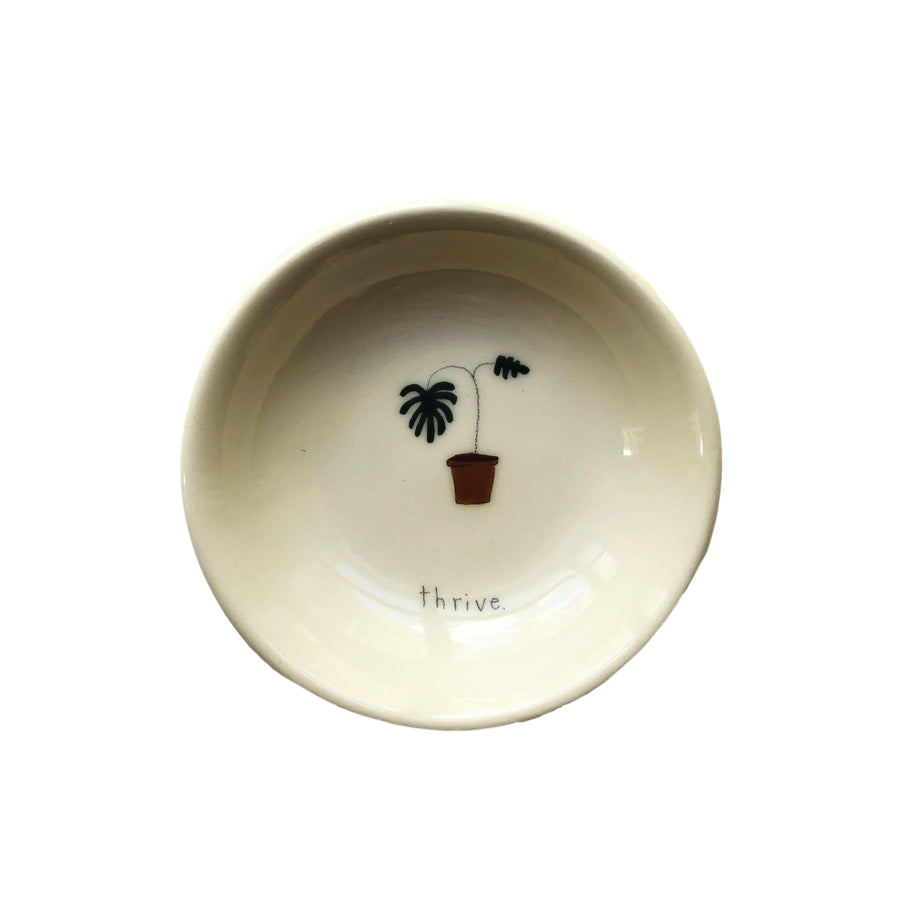 """Thrive"" Monstera Plant Ceramic Bowl"