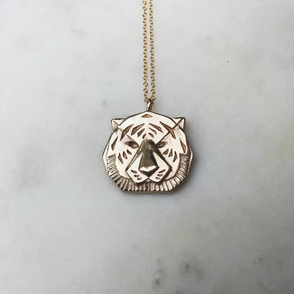 Tiger Necklace in Bronze