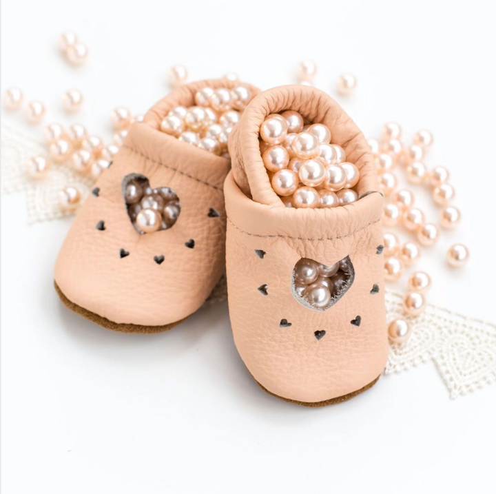 Peach Heart Janes Leather Baby Shoes - 6m (2)