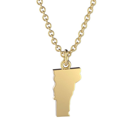 Vermont State Charm Necklace Gold or Silver