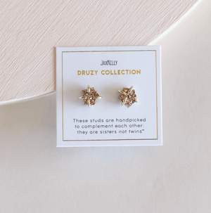 Rose Gold Druzy Prong Earring 18k Vermeil