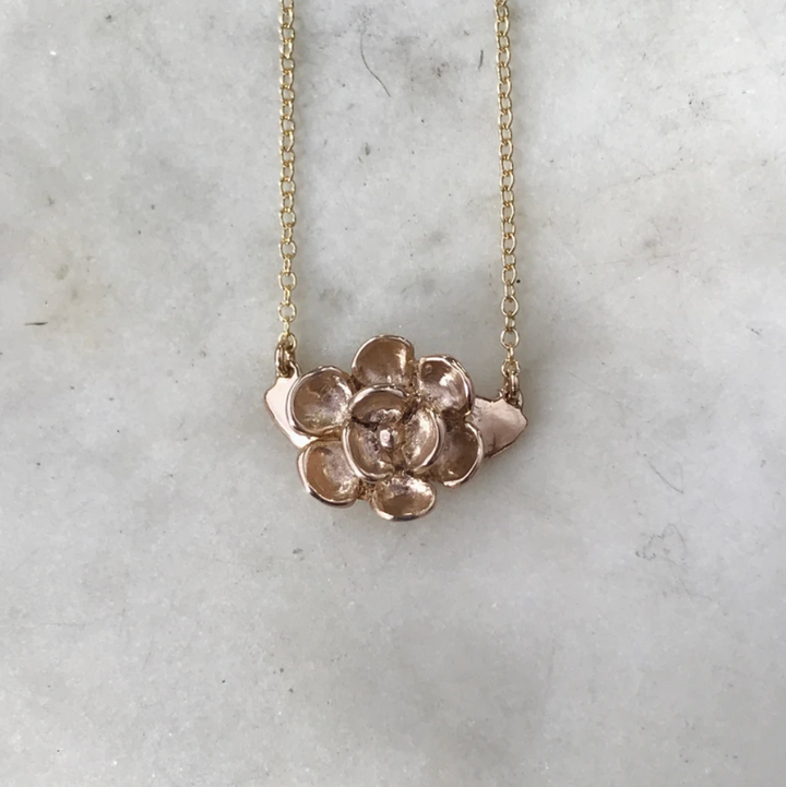 Bronze Magnola Pendant Necklace