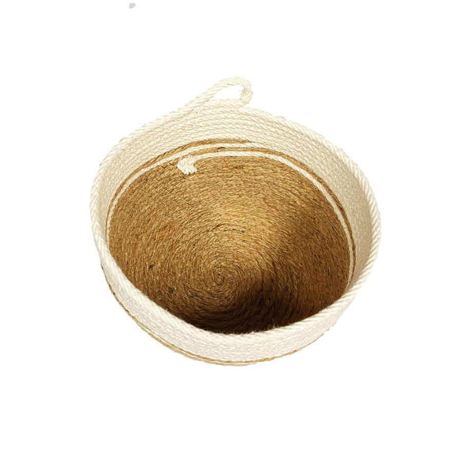 Small Woven Cotton Bucket - Jute