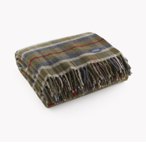 Faribault Hatchet Plaid Throw Blanket in Olive