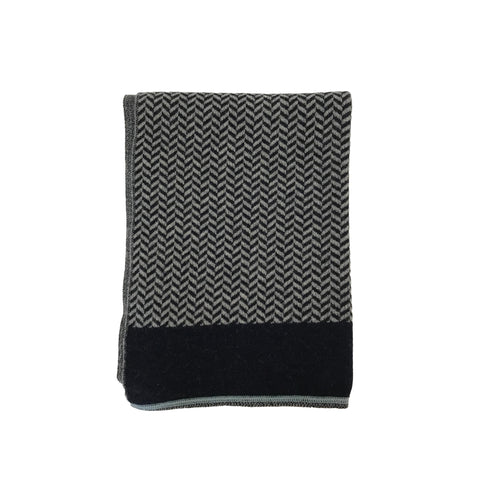 Herringbone & Houndstooth Alpaca Wrap - Navy/ Grey