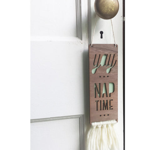 Nap Time Walnt Door Sign