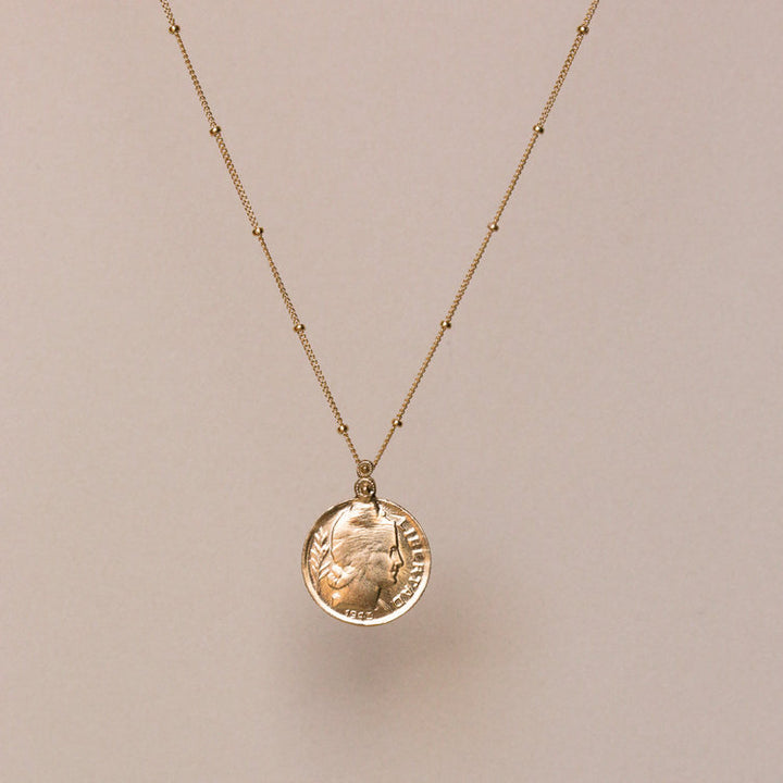 Brass Libertad Coin Pendant Necklace