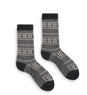 Cashmere/ Wool Striped Snowflake Women's Socks - Black