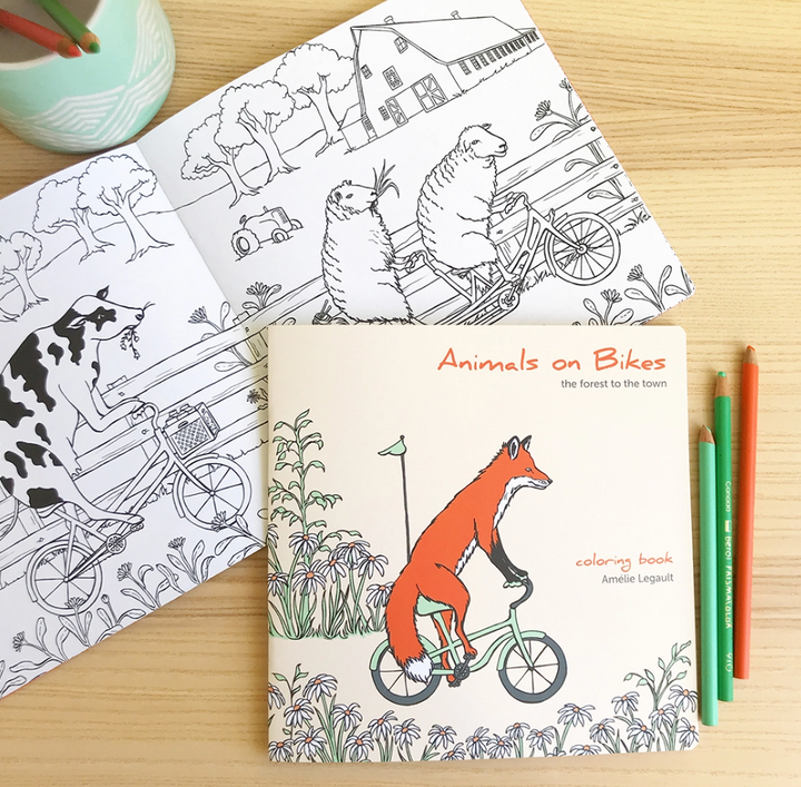 Forest to Town Animals on Bikes Coloring Book