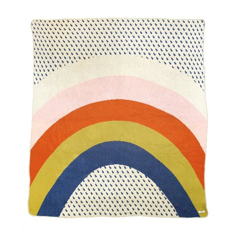 Rainbow & Raindrops Cotton Blanket - 50x60