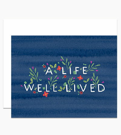 A Life Well Lived Card On Blue Card - DH3