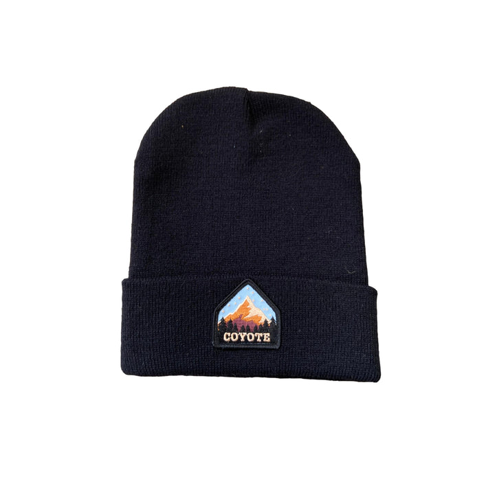 Coyote Provisions Black Beanie with Mountain Patch