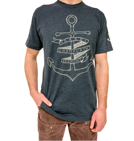 Lake Champlain Anchor on Black Aqua T-Shirt