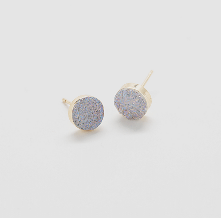 Natural Druzy Stud Earrings