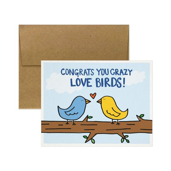 Congrats You Crazy Love Birds Card - TG4