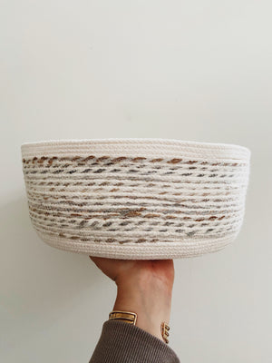 Van Reno Textiles Large Cotton & Wool Woven Basket