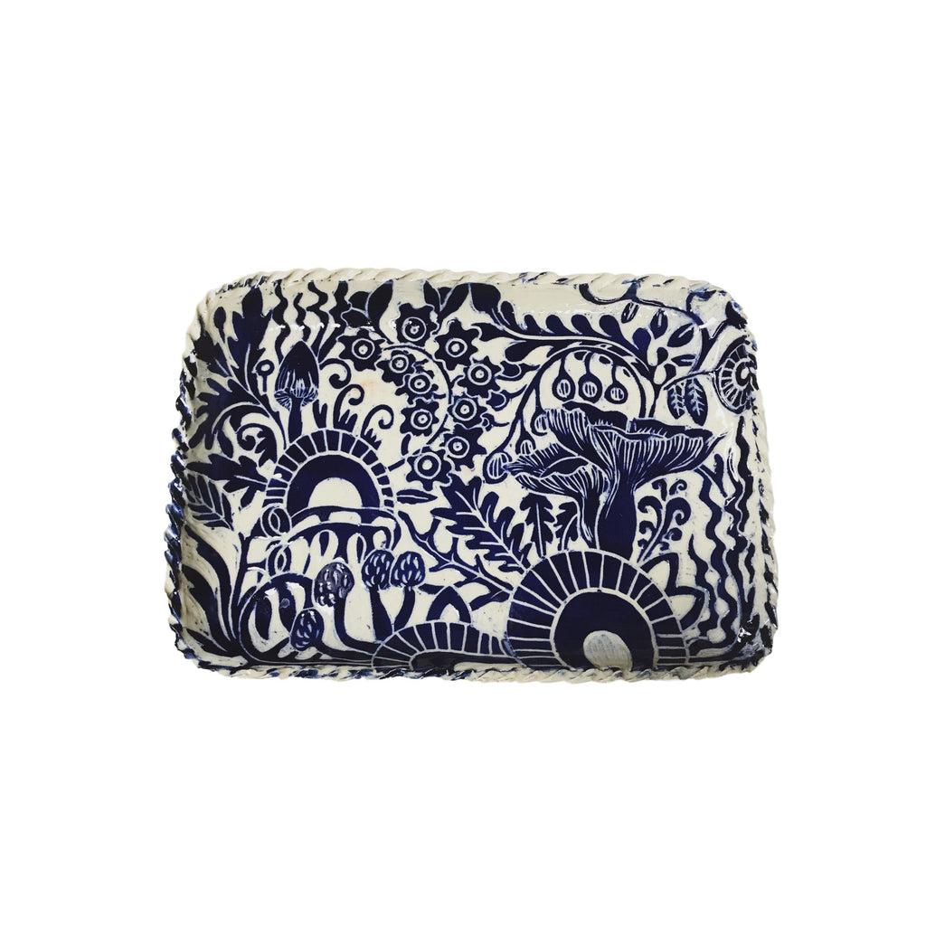 Handcarved Ceramic Tray - Blue