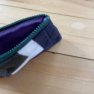 El Baul Small Hand-Dyed Quilted Clutch - Green Corduroy & Blue