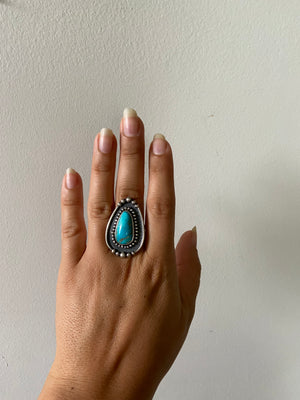 One of a Kind Large Turquoise Ring - Large Border