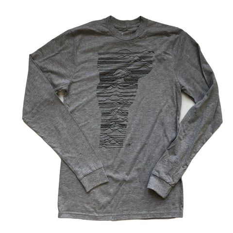Mountains of Vermont Grey Long Sleeve