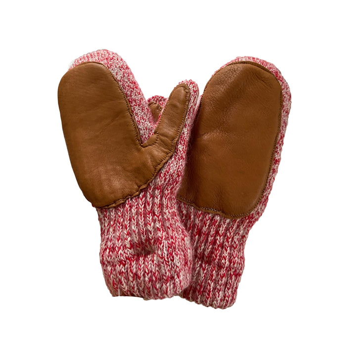 White/Red Marl Ladies Wool Mittens with Deerskin Palm