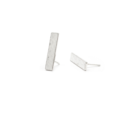 Hammered Flat Sterling Silver Stud