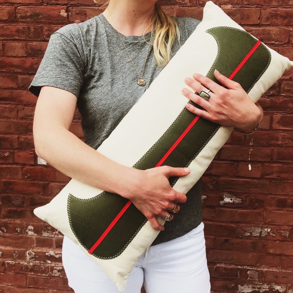 Canvas Canoe Pillow 12x28